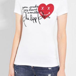 Женская хлопковая футболка белая со стразами от PHILIPP PLEIN