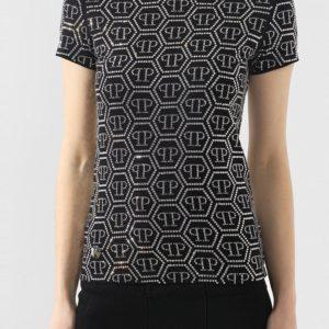 Женская хлопковая футболка с паттерном в виде логотипа бренда от PHILIPP PLEIN