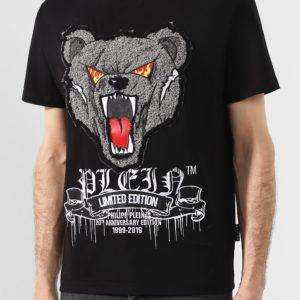 Мужская футболка хлопковая черная с принтом медведя от PHILIPP PLEIN