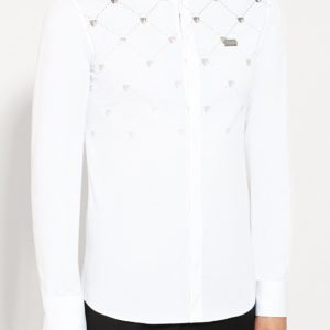 Мужская хлопковая рубашка белая с принтом от PHILIPP PLEIN
